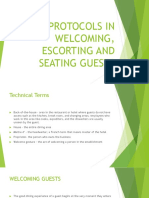 Protocols in Welcoming, Escorting and Seating Guests