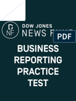 2018 Business Reporting Test Answer Key