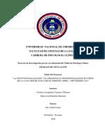 Proyecto de investigación LA INSTITUCIONALIZACIÓN Y EL DESARROLLO NEUROPSICOLÓGICO EN NIÑOS DE LA CASA HOGAR SAN CARLOS, PERIODO ABRIL – SEPTIEMBRE 2016