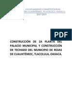 Construcción de 2a Planta Del Palacio Municipal y Construcción de Techado Del Municipio de Rojas de Cuauhtémoc
