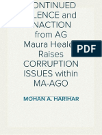CONTINUED SILENCE and INACTION from AG Maura Healey Raises CORRUPTION ISSUES within MA-AGO