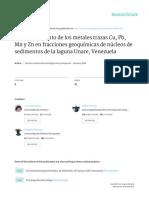 Comportamiento de los metales trazas Cu, Pb, Mn y Zn en fracciones geoquímicas de núcleos de sedimentos de la laguna Unare, Venezuela