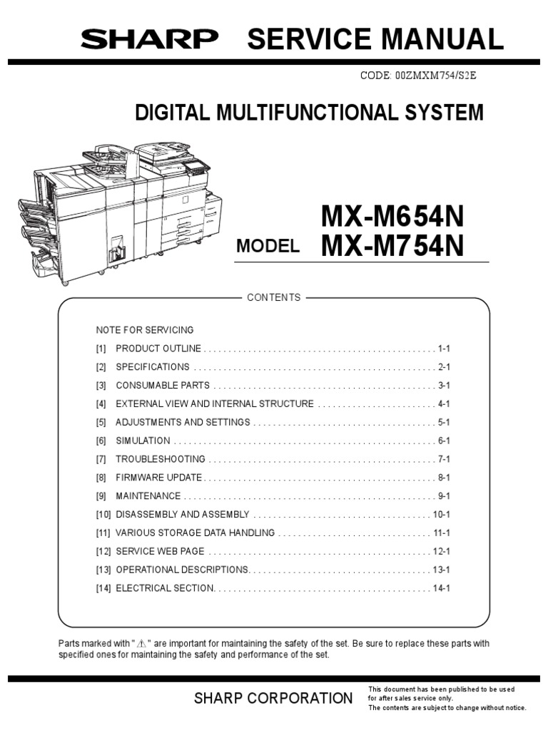 Sharp MX M654N MX M754N Service Manual   Screw   Ozone