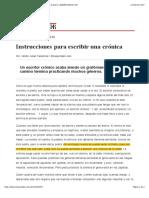 Instrucciones Para Escribir Una Crónica Hector Abad