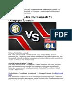 Prediksi Bola Jitu Internazionale vs Olympique Lyonnais