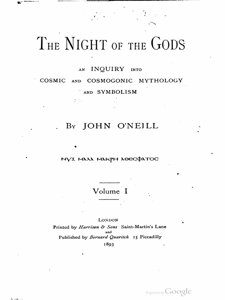 The Night of the Gods, By JOHN O'NEILL 1893 Oneill Night of
