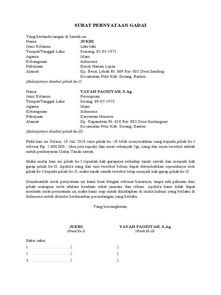 Surat Pernyataan Gadai