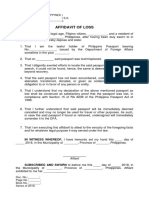 Affidavit of Loss Form - Passport