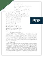Formato Parcelación General. Relaciones Internacionales UN