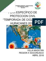 Plan Especifico Temporada de Ciclones y Huracanes 2018 Villa Mazatan