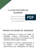 Histórico da Gestão da Qualidade