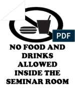 No Food or Drinks Allowed