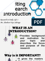 Writing Research INTRODUCTION