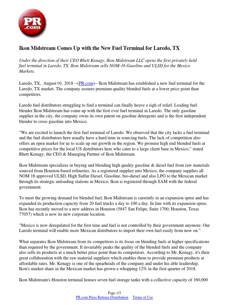 Ikon Midstream Comes Up with the New Fuel Terminal for Laredo, TX
