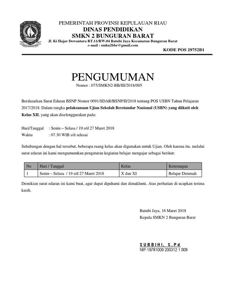 Contoh Surat Edaran Sekolah Pengumuman Libur Karena Ujian Sekolah Docx