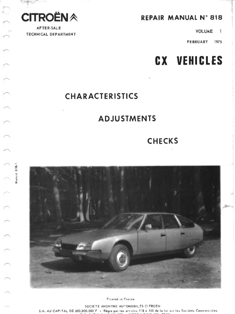 citroen cx manual series 1 volume 1 cv