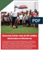 01-08-18 Denuncia Adrián robo de 90 casillas  electorales en Monterrey
