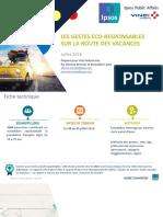 « Les gestes éco-responsables sur la route des vacances »,  étude Ipsos réalisée pour VINCI Autoroutes (août 2018).
