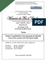 Projet d'Exploitation d'Un Gisement de Dolomie (Cas de La Carrière EL-OULDJA-Sétif)