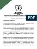 MODELO DE Contrato de Constitución de Sociedad Comercial de Responsabilidad Limitada Para El Ejercicio de Funcionase de Auditorio y Consultoria Tributaria, Administrativa y Contable