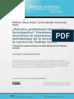 ¿Práctica profesional interventiva o investigativa? Tensiones que atraviesan la enseñanza de la metodología de la investigación en la carrera de Trabajo Social
