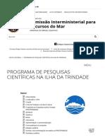 Programa de Pesquisas Científicas Na Ilha Da Trindade _ Secirm