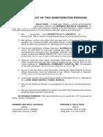 Affidavit-Two Disinterested Persons (1)