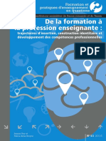 DE LA FORMATION À LA PROFESSION ENSEIGNANTE