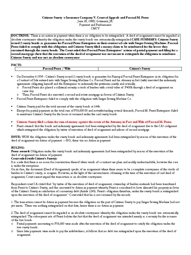 75 Citizens Surety v CA | Assignment (Law) | Guarantee