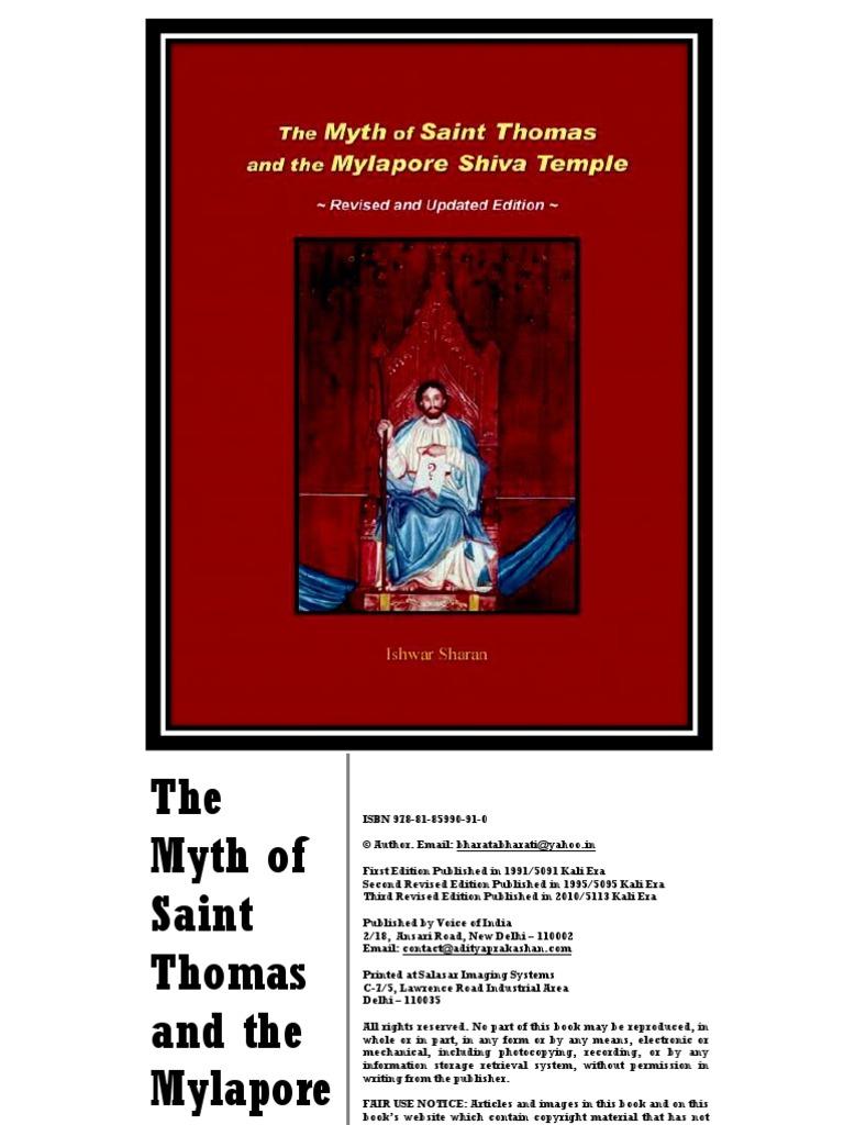 The Myth of Saint Thomas and the Mylapore Shiva Temple (2010 ...