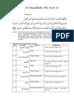 Q.S. Al Mujaadilah Ayat 11