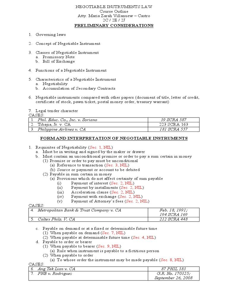 negotiable instruments outline