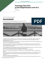 Ansiedade - Psicologo Elso Pini