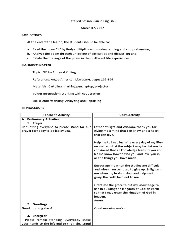 Detailed Lesson Plan in English 8 (FINAL) docx | Lesson Plan