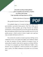 Carta Pastoral Del Arzobispo Metropolitano de Piura Por La Reciente Visita Apostólica Del Papa Francisco