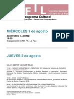 Programa Cultural FIL La Paz 2018