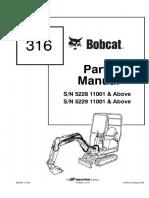 Bobcat 316 Excavator Parts Catalogue Manual SN 522811001 & Above.pdf