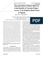 Effect of Spacing and Poultry Manure Rates on Growth, Yield and Quality of Cayenne Pepper (Capsicum frutescens. L) in Southern Rain Forest of Nigeria