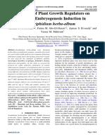 Influence of Plant Growth Regulators on Somatic Embryogenesis Induction in Seriphidium herba-album