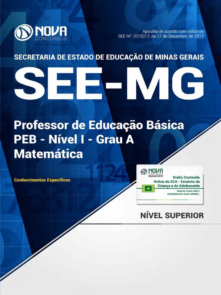 67c027aed Professor de Educação Básica - PEB - Nível I - Grau a Matemática