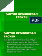 Kuliah Ke 5 Faktor Kesuksesan Proyek