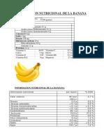 Informacion Nutricional de La Banana
