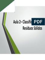 Aula 2 – Classificação Dos Resíduos Sólidos