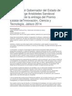 Entrega Del Premio Estatal de Innovación, Ciencia y Tecnología, Jalisco 2014