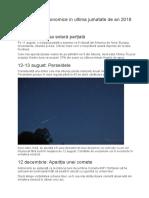 Fenomene Astronomice in Ultima Jumatate de an 2018