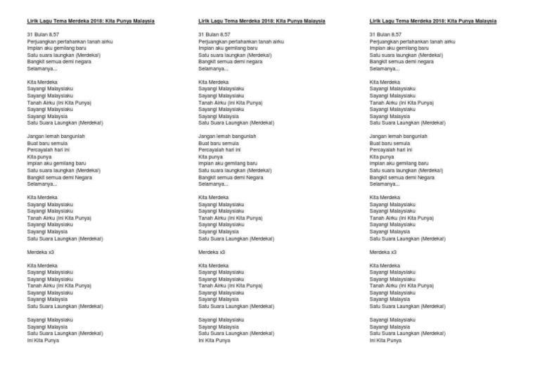 Lirik Kita Punya Malaysia