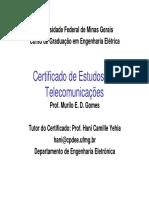 Certificado de telecomunicações engenharia elétrica ufmg