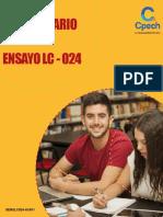 Solucionario ensayo PSU LC-024