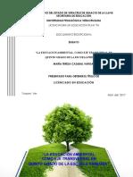 El Medio Ambiente Como Eje Transversal 5o Grado de Prim.