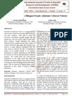 Speech Disturbance in Bilingual Female Alzheimer's Disease Patients
